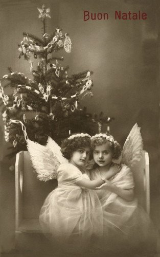 c1900 Italian Christmas Real Photo~Buon Natale~Sweet Girl Angels~Decorated Christmas Tree~6 pack NEW Matte Vintage Picture Large Blank Note Cards with Envelopes