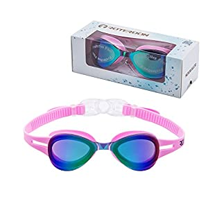 Kids Swimming Goggle Mirrored UV Protective, Anti Fog Colorful Funny Goggles Best Choose For Youth Juniors Children As Swimming Equipment From Online Amazon Store Roterdon (Pink)