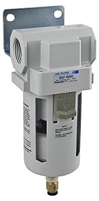 "PneumaticPlus SAF400-N06BD Compressed Air Filter 3/4"" NPT, 10 Micron - Poly Bowl, Auto Drain, Bracket"
