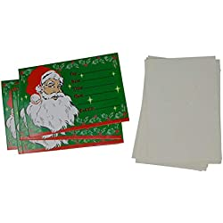 Santa Claus Christmas Invitations with Envelops (Pack of 8, Color: Green) Holiday Party Invitation
