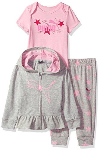PUMA Baby Girls Three Piece Creeper Jacket Set, Light Heather Grey, 0-3 Months Puma Girls Jacket