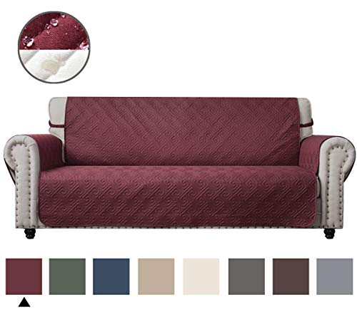 CHHKON DEARTOWN Sofa Cover with Anti-Skip Dog Paw Print 100% Waterproof Quilted Furniture Protector Sofa Slipcover for Children, Pets for Leather Couch (Burgundy, Sofa)