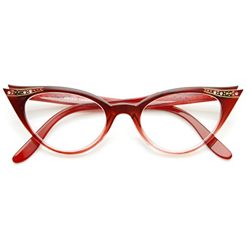 Red Cat Eye - Vintage Cateyes 80s Inspired Fashion Clear Lens Cat Eye Glasses with Rhinestones (Red Fade)