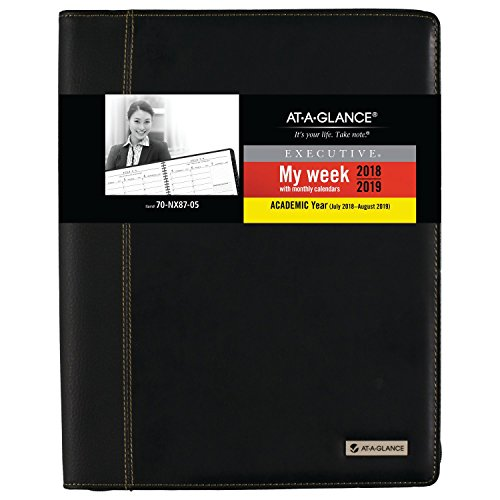 A-glance Executive Planner - at-A-Glance 2018-2019 Academic Year Weekly & Monthly Planner/Appointment Book, Large, 8-1/4 x 10-15/16, Executive, Black (70NX8705)
