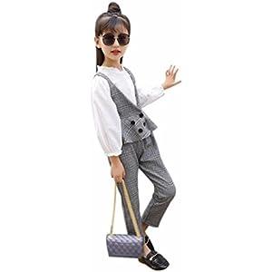 de2fe7063a6a3 Burning Go 子供服 フォーマル スーツ ベスト 長ズボン 長袖 女の子スーツ チェック柄 ボタン 韓国