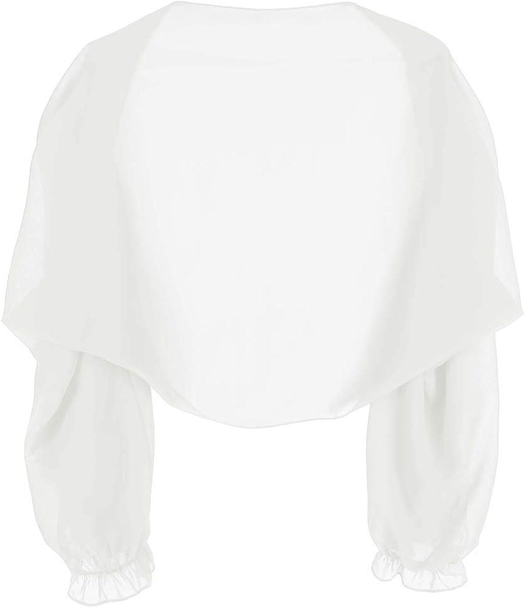 Agoky Chal Estola de Gasa para Fiesta Mujer Capa Manga Larga con Volantes Bolero de Boda Ceremonia C/árdigan Camisa de Playa Protecci/ón Solar