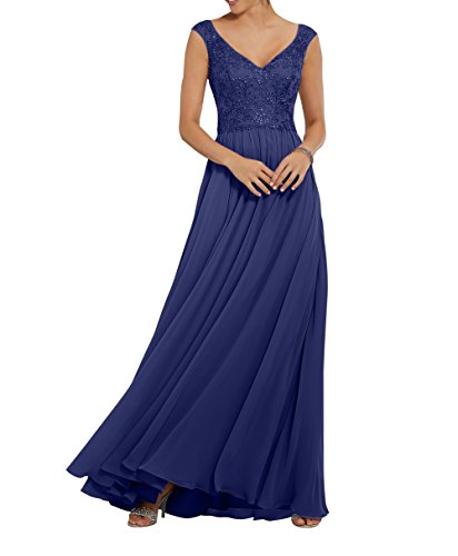 Elegant Damen Royal Festlichkleider Spitze Blau A linieAbschlussballkleider Abendkleider Partykleider Charmant Lang FxdUwxz