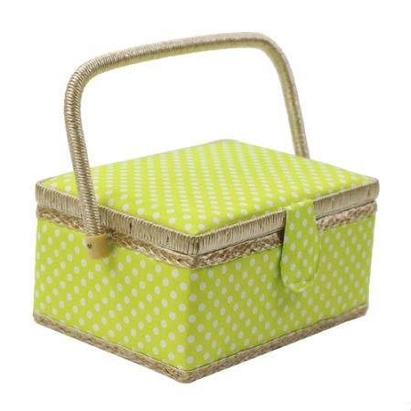 Polka Dot Sewing Basket with Handles Home Storage Box Mother's Day Gift, 31 Pcs Sewing Kit Accessories, 9.4'' x 6.9'' x 5.9'' 1/Box (2 Boxes) by D&D