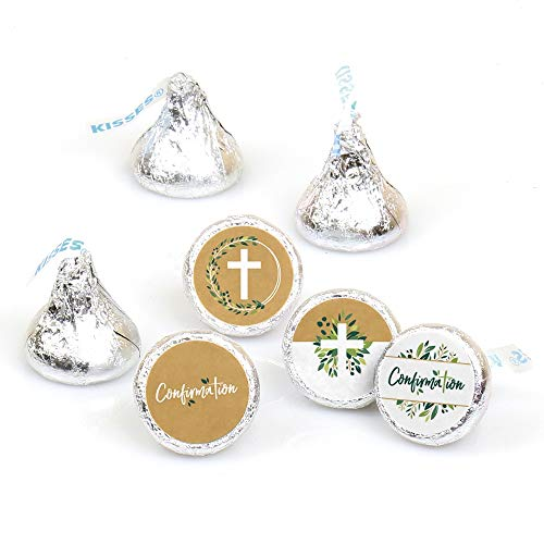 Confirmation Elegant Cross - Religious Party Round Candy Sticker Favors - Labels Fit Hershey's Kisses (1 Sheet of 108)]()
