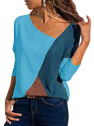 Yidarton Women's Summer Tops Casual Color Block V-Neck Short Sleeve/Long Sleeves Basic Tee Blouse T Shirts