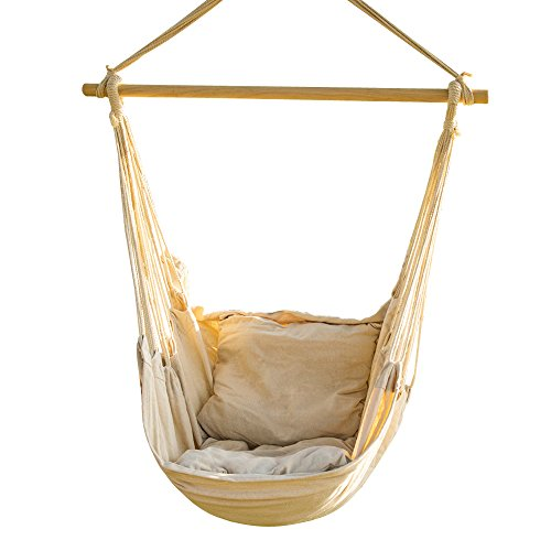 CCTRO Hanging Rope Hammock Chair Swing Seat, Large Brazilian Hammock Net Chair Porch Chair for Yard, Bedroom, Patio, Porch, Indoor, Outdoor - 2 Seat Cushions Included (Seat Hanging Hammock)