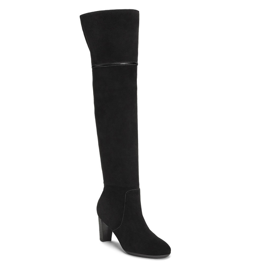 Aerosoles Women's Lavender Over the Knee Boot, Black Suede, 8 M US
