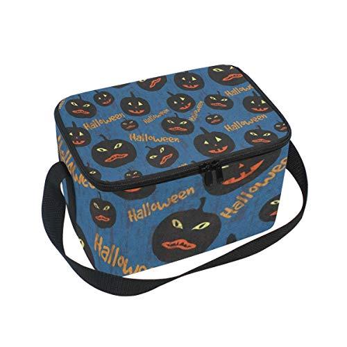 Lunch Box Halloween Pumpkin Womens Insulated Lunch Bag Kids Zipper Lunch Tote]()