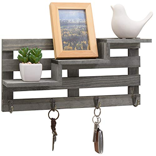 (MyGift Vintage Gray Wood Wall-Mounted 3-Tiered Stair Display Shelf with 4 Key Hooks)