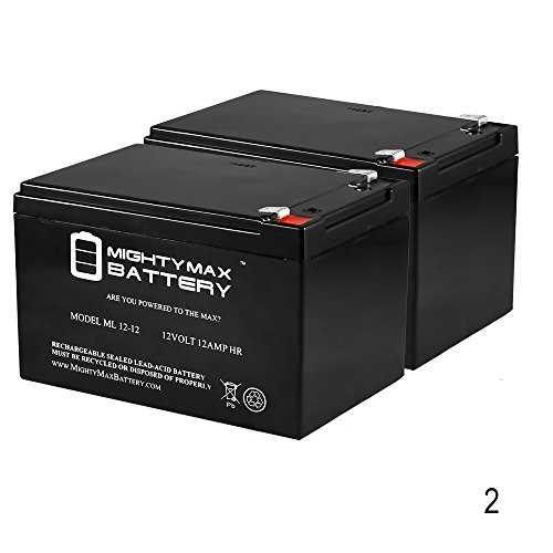 ML12-12 - 12V 12AH F2 SLA AGM DEEP-CYCLE RECHARGEABLE BATTERY - 2 Pack - Mighty Max Battery brand product