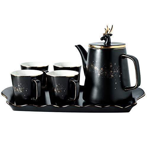 Ceramic Cold Water Pot Tea Set Coffee Set with Tray with Filter, Simple European Household Ceramic Cup 250ml, Black Reindeer Pattern Suitable for Adults, Christmas Gifts