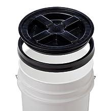 5 Gallon White Bucket & Gamma Seal Lid - Food Grade Plastic Pail & Gamma2 Screw Seal Tight Lid (Black) by Gamma Seal