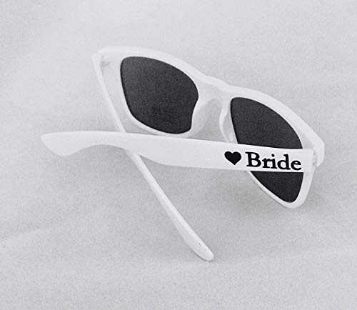 White Bride Sunglasses for Wedding or Honeymoon | Personalized Bachelorette Party Gift Under -