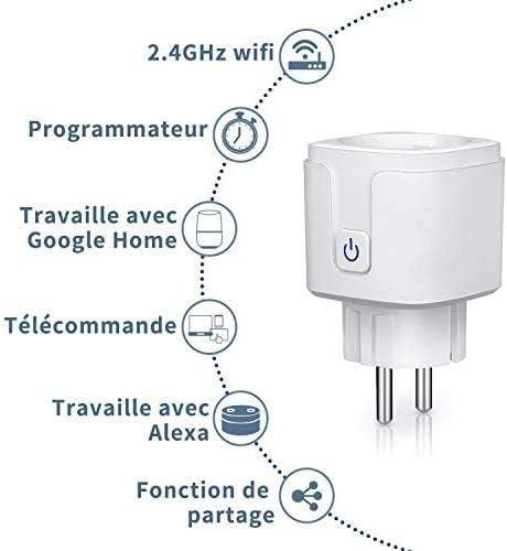Contr/ôle vocale Android et iOS Wlan Smart home Socket Prise intelligente connect/ée WiFi pour  Alexa Google Home Aplic Contr/ôle par Application Smart life Fonction de minuterie on//off