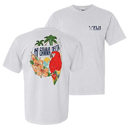 Phi Gamma Delta Fraternity Greek Comfort Colors Tropical Tee Fiji White ()