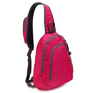 STARCARE Sling Shoulder Crossbody Bag Lightweight Chest Backpack for Hiking, Travel or Multipurpose Daypacks for Men and Women (Fuchsia)
