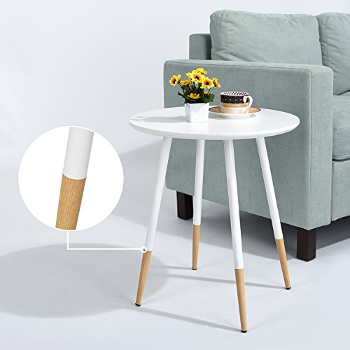 Table Coffee Side Table Small Table Round for Bedroom &Living Room Pine Wood Table Surface and Metal Legs End Tables for Plants Magazines Coffee Saucer
