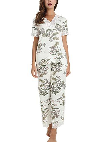 Cherrydew Women's Pjs Soft Bamboo Short Sleeve Capri Pajama Lounge Sets with Lace Trim(Maple Leaf, - Soft Pajamas Womens