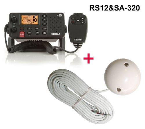 SIMRAD RS12E UKW Seefunkanlage (D DSC / ATIS Funktion) inklusive 12 Kanal Evermore SA-320 GPS Empfänger und Handmikrofon mit 5 Tasten - Marine Schiff Yacht Boot Funkgerät mit GPS Satelliten Empfänger für Navigation RS 12 plus SA-320