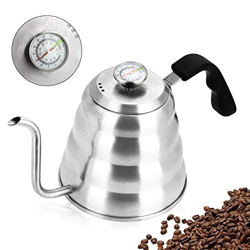 Pour Over Kettle, OAMCEG 40fl oz/1.2L Stainless Steel Gooseneck Pour Over Coffee Kettle with Thermometer for Exact Temperature - Insulated BPA Free Plastic Ergonomic -