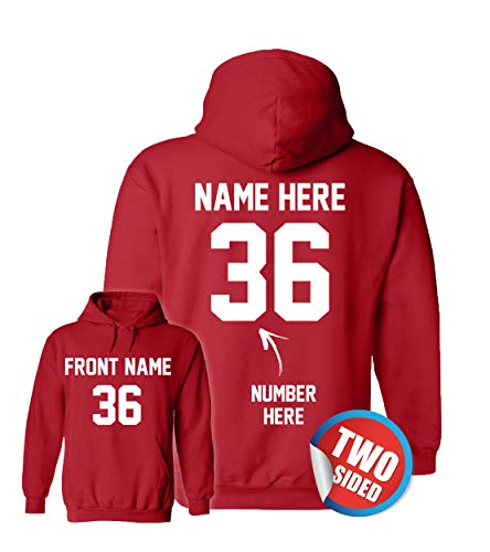 Custom Red Hoodies - Basketball Sweatshirts - Personalized Hoodys for Volleyball
