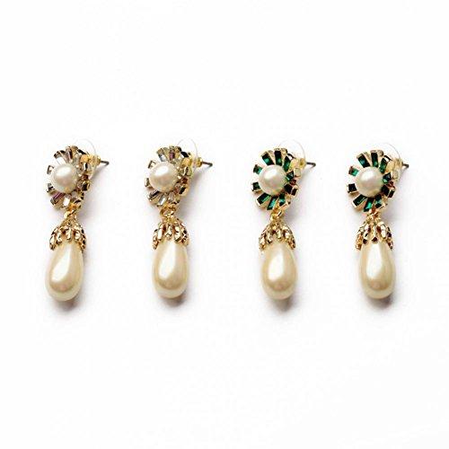 Prime Leader Bamoer Luxury Pearl Drop Earrinfor Women Wedding Gold Plated Zircon Crystal High Quality Jewelry Brincos Bijoux Women E338