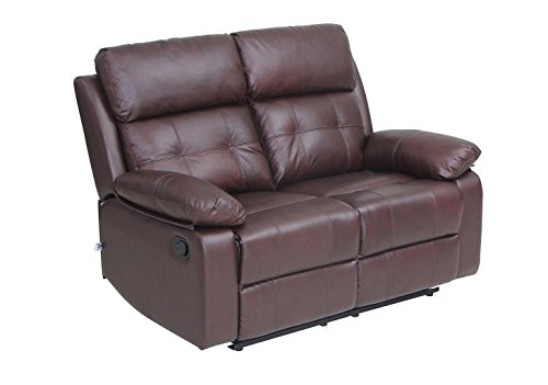 Reclining Sofa Set Top Grain Leather Loveseat with Overstuff Armrest/Headrest, 2 seat Sofa, Brown