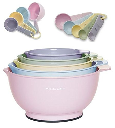 KitchenAid 5pc Mixing Bowls, Measuring Cups & Spoons Pastel Pink Yellow Lavender
