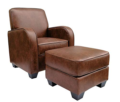 Ravenna Home Club Faux Leather Accent Chair and Ottoman, 29″W, Brown