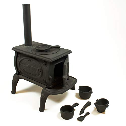 Old Mountain 10142 Black Mini Box Stove Set, with Accessories, 10 1/2 Inch Tall (Cast Iron Pot Belly Stoves For Sale)