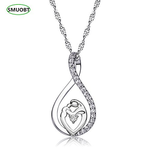 (Sumo Mother Daughter Gift Necklace Baby Mom Heart Pendant Necklace for Women Girls Gifts for Mom Mother's Day Birthday Gifts from Daughter Son,Silver)
