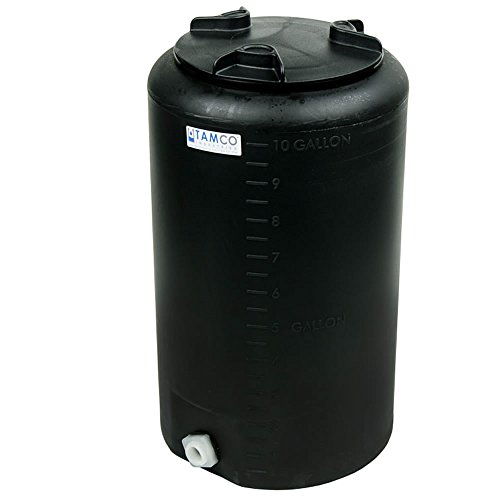 10 Gallon Tamco Vertical Black PE Tank with 8inch Lid & 3/4inch Fitting - 13inch Dia. x 22inch High ()