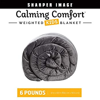 Image of Calming Comfort Weighted Blanket by Sharper Image- A Heavy Blanket| 6 lbs, 41 in x 60 in, Grey Calming Comfort B07KFNSBP5 Weighted Blankets