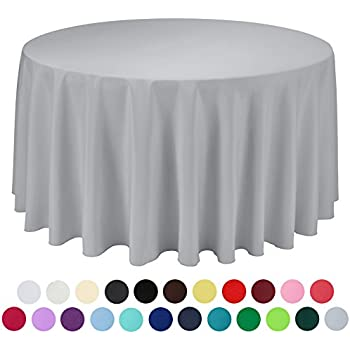 VEEYOO 120 Inch Round Solid Polyester Tablecloth For Wedding Restaurant  Party , Silver