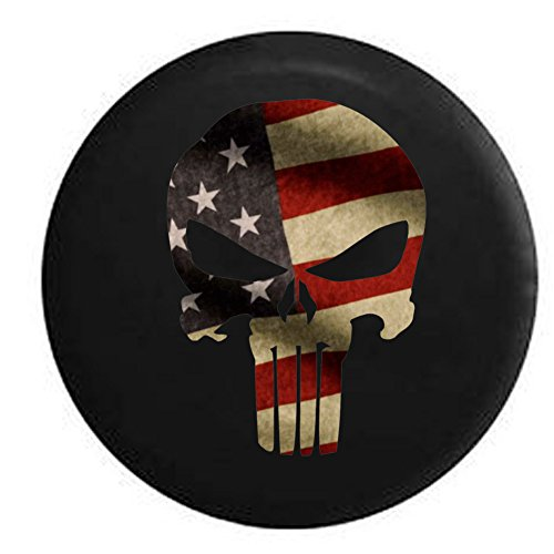 (Vintage American Flag Patriot Punisher Skull Jeep RV Spare Tire Cover Black 35 in)