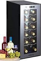 Vino Frigorífico 33litros 12botella de vino enfriador vino climática Frigorífico Mini frigorífico Minibar con puerta de cristal Iluminación LED