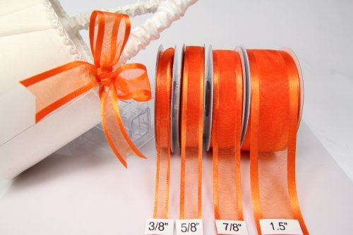Orange Organza Ribbon With Satin Edge-25 Yards X 3/8 Inches