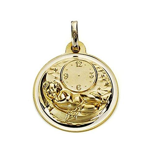 Médaille pendentif 18mm 18k enfant or. temps chanfrein [7564GR] - personnalisable - ENREGISTREMENT inclus dans le prix