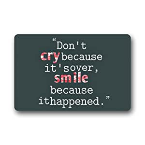 """New Style Design Don't Cry Because It Is Over£¬Smile Because It Happened. Indoor/Outdoor Floor Mat,23.6""""(L)x15.7""""(W)"""