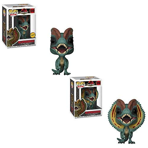 Funko POP! Movies Jurassic Park 25th Anniversary Edition: Dilophosaurus CHASE and NON CHASE Toy Action Figure - 2 POP BUNDLE