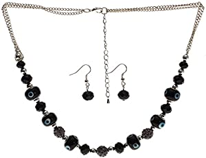 Lova Jewelry Jet Black Shamballa Inspired Necklace and Earrings Set