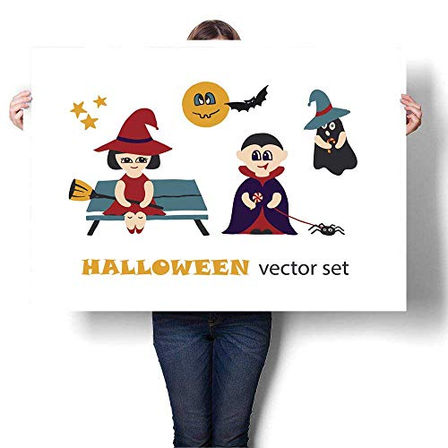 Canvas Prints Wall Art Halloween Vector Clip Art Set with Kids in Costumes Decorative Fine Art Canvas Print Poster K 24