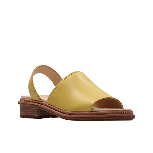 Clarks Womens Yellow Leather 'Trace Stitch' Peep Toe Sandals tBgoQSynJf