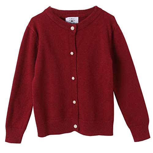 SMILING PINKER Girls Cardigan Sweater School Uniforms Button Long Sleeve Knit Tops(6-7,Burgundy) ()