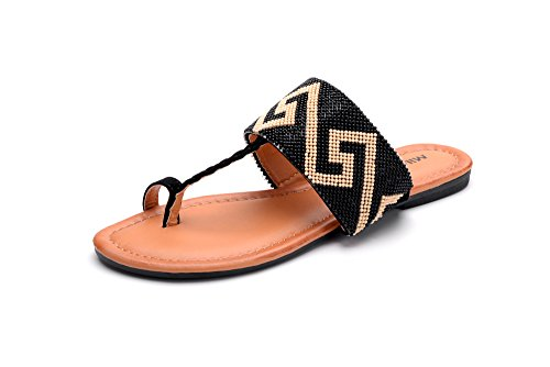 (Mila Lady Amy-10 Tribal Beaded Indian Accent Toe Ring Flat Sandal Black 5.5)